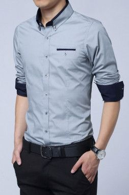 The unique color contrast highlight the stand collar, the seal of pocket and the inside of spliced cuffs and gives this classic mens shirt instant appeal. Crafted in pure cotton with a lightly texture
