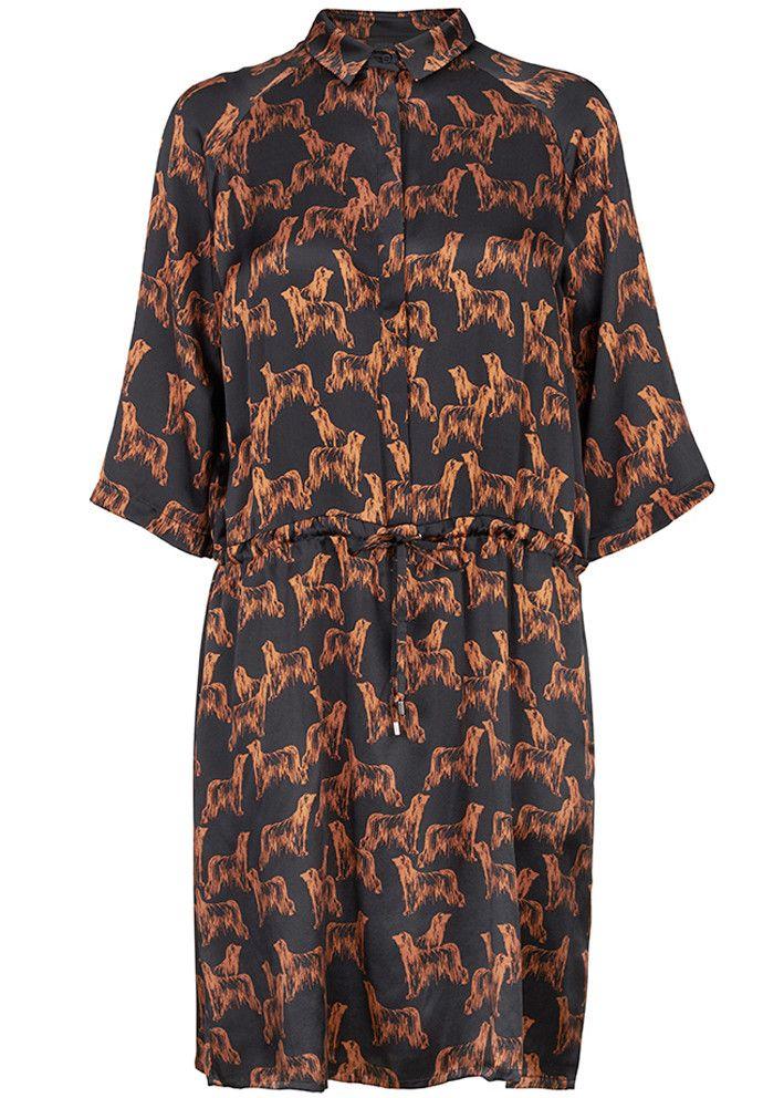 Storm & Marie Silkekjole print 10051 Nadia Dress All over print - black – Acorns