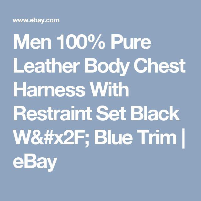 Men 100% Pure Leather Body Chest Harness With Restraint Set Black W/ Blue Trim    eBay
