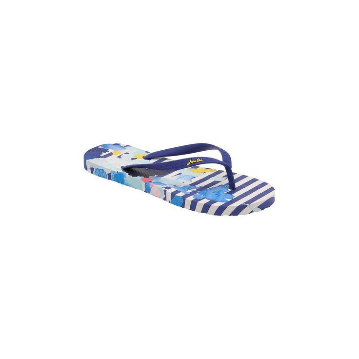 Women's Joules Sandy Floral Stripe Flip Flop Sandals - Navy/White 10, Multicolored