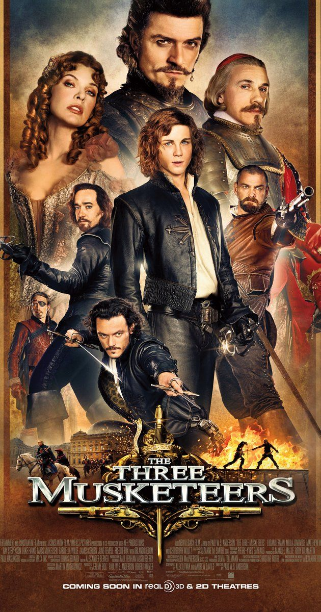 Directed by Paul W.S. Anderson.  With Logan Lerman, Matthew Macfadyen, Ray Stevenson, Milla Jovovich. The hot-headed young D'Artagnan along with three former legendary but now down on their luck Musketeers must unite and defeat a beautiful double agent and her villainous employer from seizing the French throne and engulfing Europe in war.