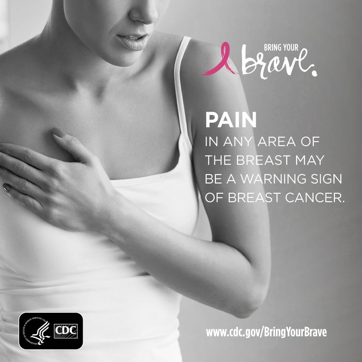 Pain in any area of the breast can be a warning sign for breast cancer. Click to learn the seven other warning signs. #BringYourBrave