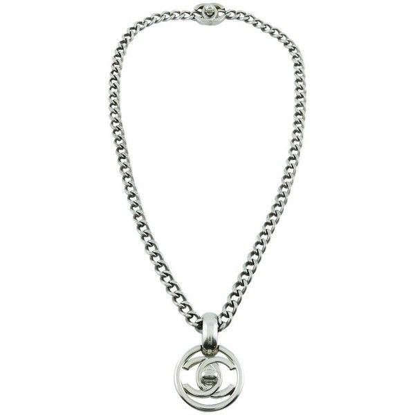 Preowned Chanel Vintage 1997 Silver Toned Turn-lock Pendant Necklace ($1,478) ❤ liked on Polyvore featuring jewelry, necklaces, grey, pendant necklaces, chain necklaces, chanel pendant, chain pendants, vintage jewellery and interlocking necklace