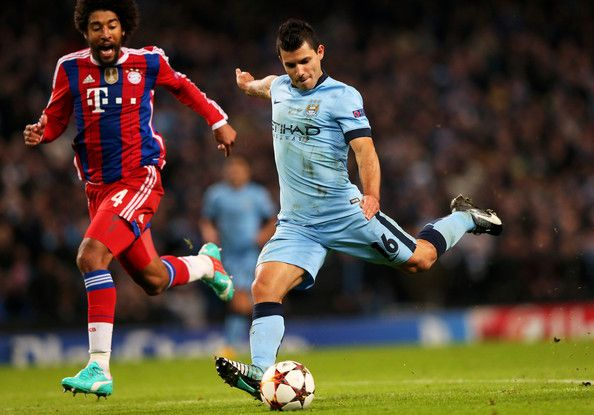 Sergio Aguero of Manchester City scores his team's second goal during the UEFA Champions League Group E match between Manchester City and FC Bayern Muenchen at the Etihad Stadium on November 25, 2014 in Manchester, United Kingdom.