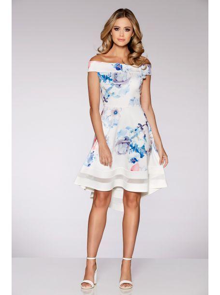 Cream Blue And Pink Fl Print Bardot Dip Hem Dress Wedding Guest