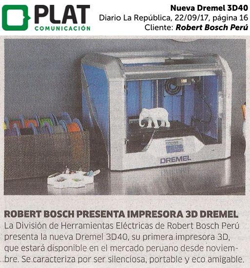 Robert Bosch Perú: Nueva Dremel 3D40 en el diario La República de Perú (22/09/2017)