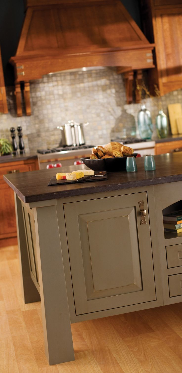 Craftsman Kitchen with Green Earth-toned, Free Standing Kitchen Island - Dura Supreme Cabinetry