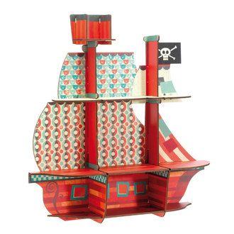 Etagère murale en bois forme bateau pirate imprimé géométrique 52x54x14cm MARIN Little Big Room