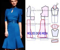 Vestido em malha com passo a passo do molde e informação técnica