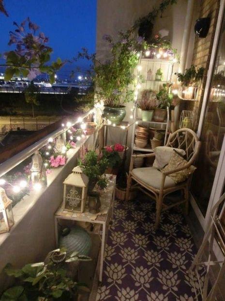 Balcony lighting ideas small balcony with string lights
