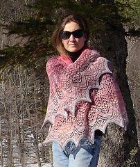 Ravelry: Bonnylassinvt's Vernal Equinox Shawl dragon wing shawl with pointed scalloped hem