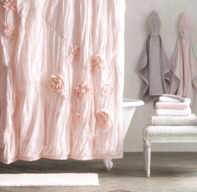 Pale Pink Shower Curtain. Washed Appliqu d Fleur Shower Curtain 7 best girls bath images on Pinterest  Rh baby Bathroom ideas