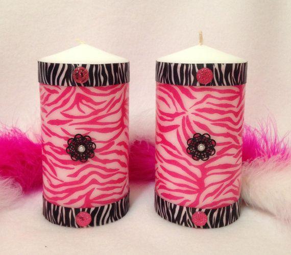 Pink Zebra Unscented Pillar Candles/ Pink by CreativeGlassByBecky