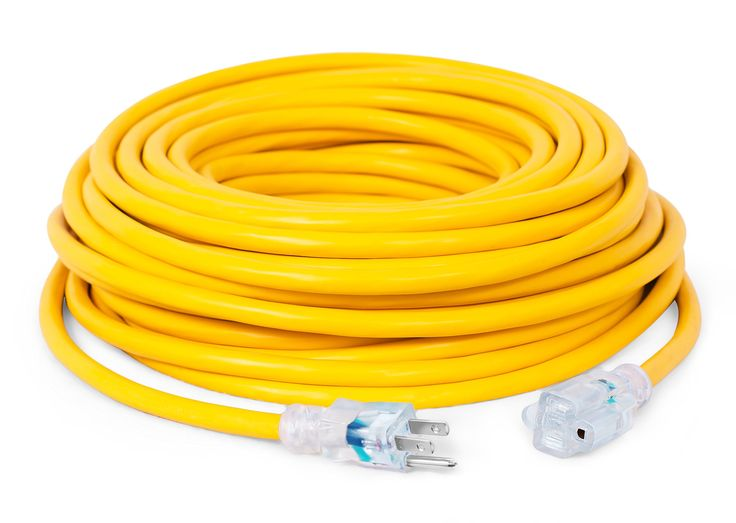 Internet's Best 100 FT Power Extension Cord with LED Lighted Plugs | 12 AWG (Gauge – 12/3) Heavy Duty Outdoor/Indoor Power Extension Cable Cord | NEMA 5-15 R & 5-15P – SJTW | Yellow
