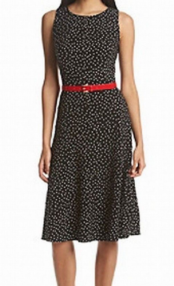 Cool Amazing Tommy Hilfiger NEW Black Red Polka Dot Print 14 Belted Sheath Dress $119 #014 2018