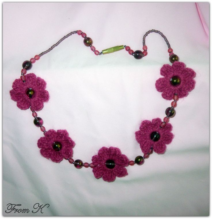 #Flower #necklace, hand crochet with a fine acrylic thread, decorated with Czech bead crystals.  Simple, yet original, everyday wear necklace. Perfect for summer and spring. Very light.  40cm long, fits right around the neck.  For more visit FB page https://www.facebook.com/media/set/?set=a.561257837233852.117610562.246629745363331&type=3