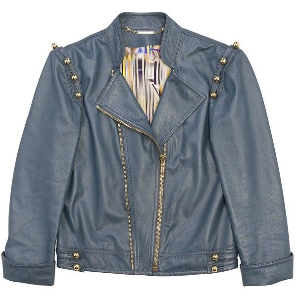 Soft Leather Button Sleeve Jacket (1,650 NZD) ❤ liked on Polyvore featuring outerwear, jackets, tops, coats, women, button jacket, blue jackets, leather-sleeve jacket, real leather jacket i metallic biker jacket