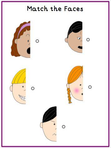 Matching face halves: File Folder Activity
