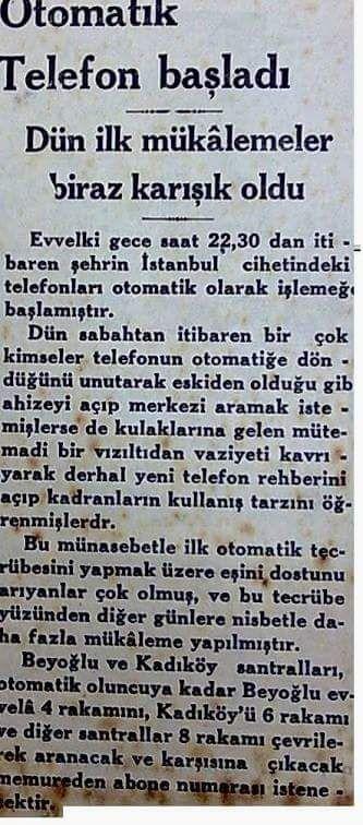 """""""Otomatik telefon başladı"""" (1931, Cumhuriyet) #eskihaberler #nostalji #istanbul #istanlook"""