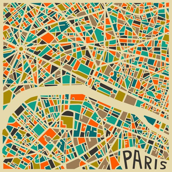 """Cities"" illustration by Jazzberry Blue - Paris http://www.jazzberryblue.com/ #maps #patterns"