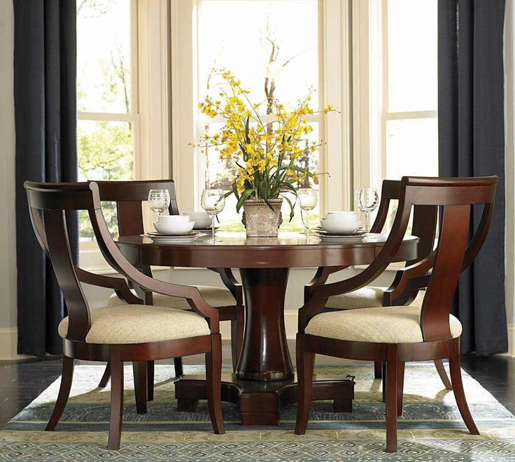 101181set Hemphill Cherry Wood 5 Pieces Round Pedestal Table Dining Set |  New $ Sale $