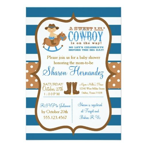 446 best Cowboy Baby Shower Invitations images on Pinterest Shower