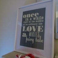 Wedding Gift - 'LOVE writes a fairy tale'  A3 Art Print