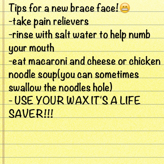 Helpful braces tips...this will come in handy, i'm dying with my spacers on.