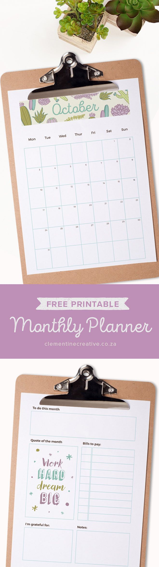 Get a new free printable monthly planner every month to insert in your kikki.K, Filofax or larger binder. Get October's calendar/planner here.