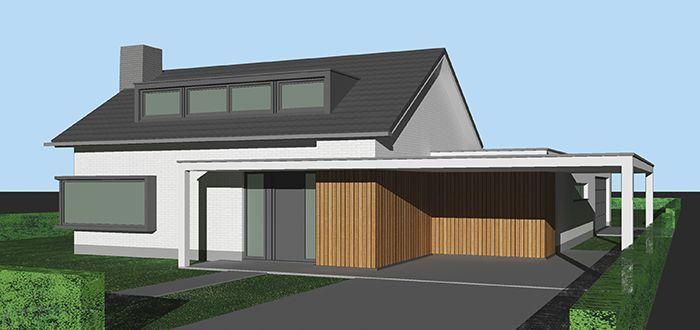 Grondige renovatie en uitbreiding van een bestaande woning. Wit geschilderde bakstenen, donkergrijze kozijnen, vlakke dakpannen en dakkapel, houten latten.
