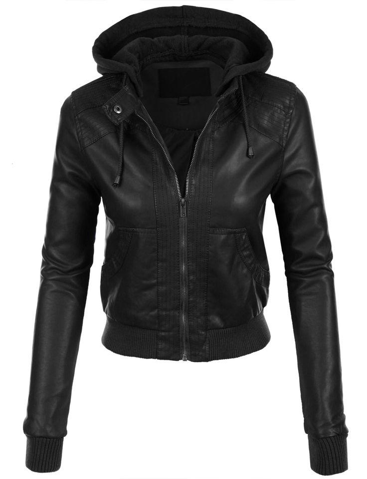 womens faux leather bomber jacket with fleece hood