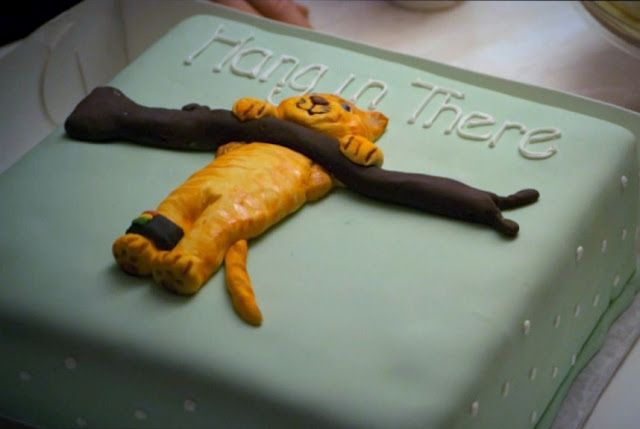 """Hilarious White Collar cake from last season <3 excited for season 4!! """"hang in there"""""""