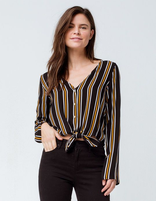 7d131797ca9 POLLY   ESTHER Button Stripe Black Womens Tie Front Top