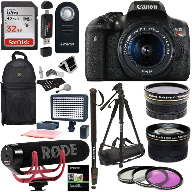 Canon EOS Rebel T6i Video Creator Kit with 18-55mm Lens + Rode Video GO Microphone + Sandisk 32GB Class 10 + Polaroid .43x HD Wide Angle Lens + Polaroid 2.2X HD Telephoto Lens + Polaroid Accessory Kit. Canon EOS Rebel T6i Video Creator Kit with 18-55mm Lens, Rode VIDEOMIC GO and Sandisk 32GB SD Card Class 10 Premium Ritz Camera Bundle Including:. Polaroid Studio Series .43x High Definition Wide Angle Lens, Polaroid Studio Series 2.2X High Definition Telephoto Lens. LED Video Light Kit...