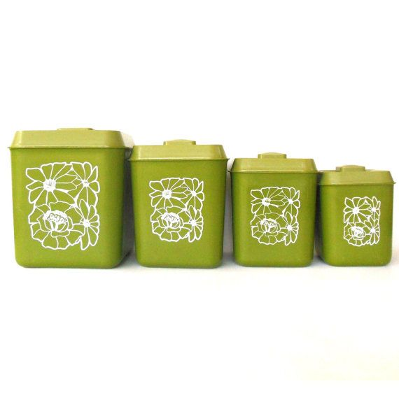 Green Kitchen Canisters: Plastic Canister Set Flour Sugar Coffee Tea Avocado Green