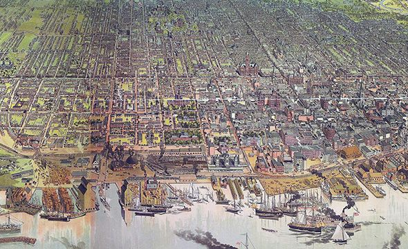 Birds eye view of Toronto growth since 1879