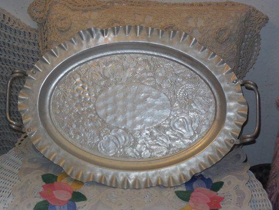 Vintage Oval Hand Forged Hammered Aluminum Floral Fruit