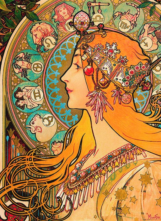 This is from Alphonse Mucha 1896. Its too detailed to tattoo as is. But I love the bold line for the face and hair, the color flatness, with subtle realism near the eyes, nose and lips. The hair flow. The circle in the background.