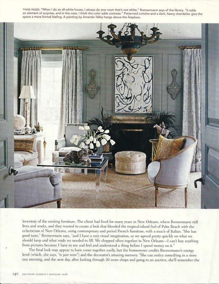 Grey Blue French Canape With Silk Ticking And Amanda Talley Painting Over Fireplace