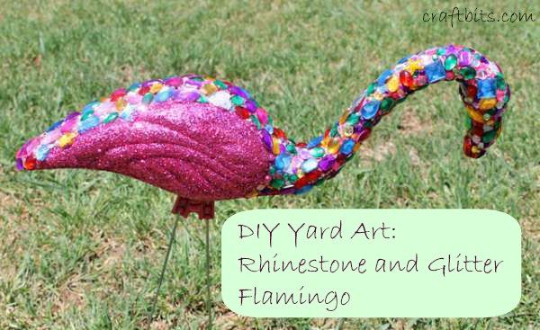 Restyle a plastic flamingo that will make your yard look glam! Use mod-podge, glitter and a plastic store bought flamingo to make the transformation!