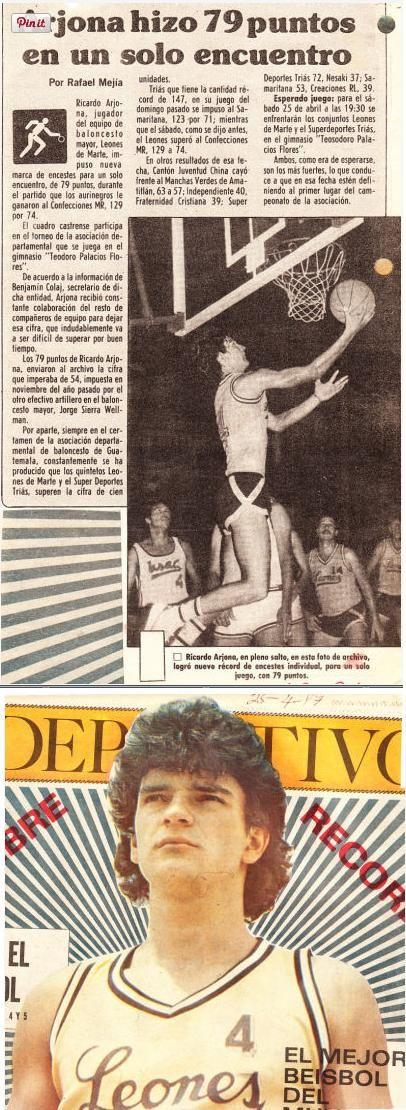 En 1985, Ricardo Arjona publicó su primer álbum, pero fue un fracaso comercial. Abandonó la música para trabajar como profesor de escuela primaria y jugador de básquetbol. Representó a la selección de Guatemala y llegó a marcar el récord nacional de puntos en un partido, con 79.