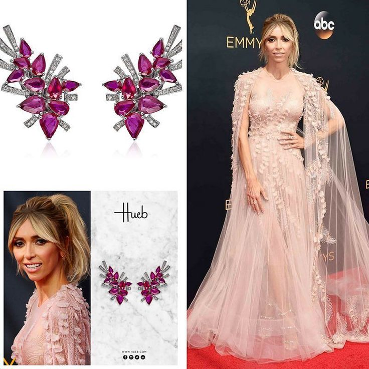 For this year's Emmy Awards E! News Host Giuliana Rancic @giulianarancic chose Hueb @hueb_official Mirage Collection earrings with pink sapphires and a number of rings from  XIV Karat. Her sheer nude gown was by G's Georges Chakra Couture @georgeschakraofficial.  #purplebyanki #diamonds #luxury #loveit #jewelry #jewelrygram #jewelrydesigner #love #jewelrydesign #finejewelry #luxurylifestyle #instagood #follow #instadaily #lovely #me #beautiful #loveofmylife #dubai #dubaifashion #dubailife…