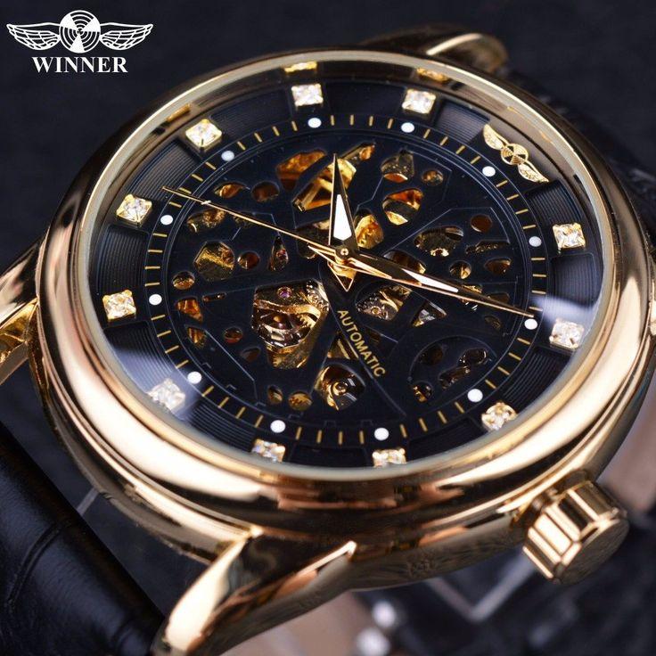 Winner Classic Royal Diamond Skeleton Watch