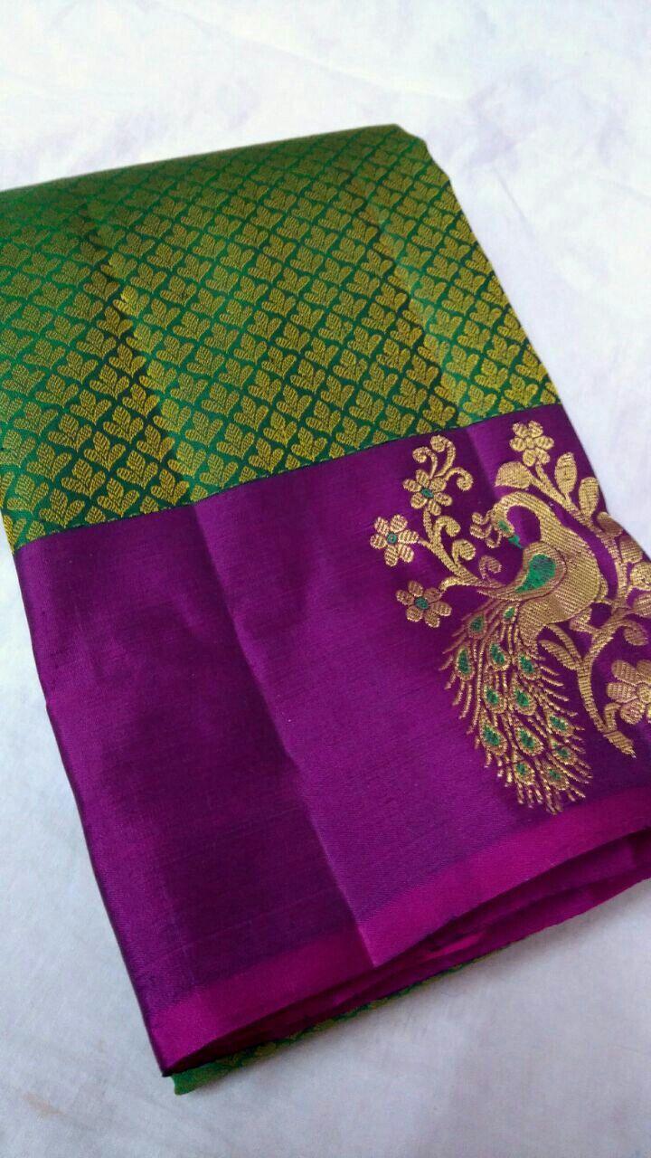Pure Kanchipuram silk sarees handwoven with silk Brocade design 12500+ship Order what's app 7093235052