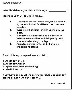 A sample of a birthday info letter to parents   I copied from an