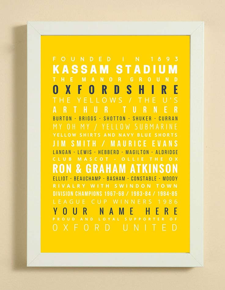 Oxford United Football Club Word Art Design Print - Words, Names And Facts Associated With Oxford United FC - In White Or Black A4 Box Frame