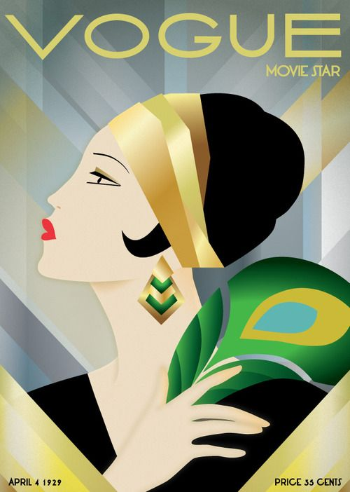 Vintage print vogue cover 1929 fashion peacock for Deco design magazine