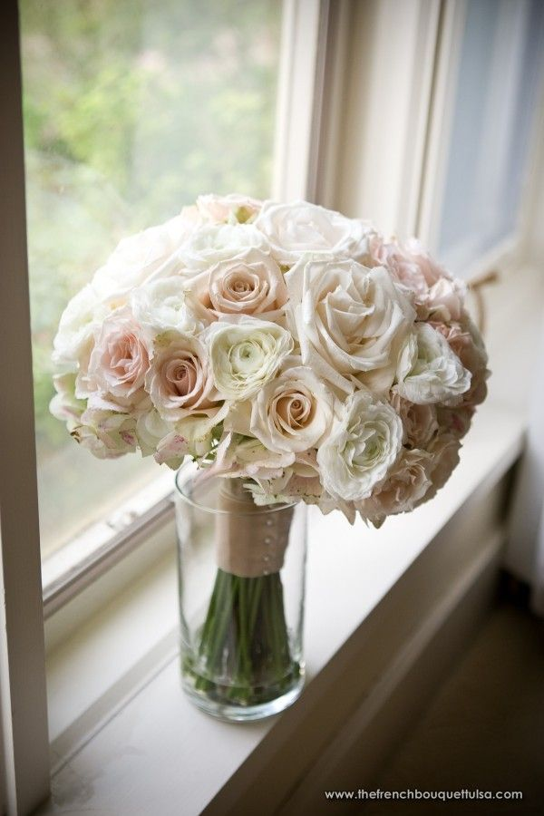 Lovely Bridal Bouquet of Light Pink, Blush and White Roses and and Champagne-Blush Ribbon