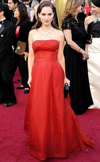 Polka dots! Natalie Portman in Christian Dior Couture at the 2012 Oscars.