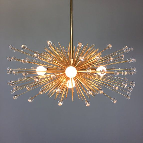 VIDEO HERE: https://vine.co/v/eLjZaDQhEE7  This gold metal urchin chandelier is MADE TO ORDER with a typical lead time of 4 weeks. Fixture lead time
